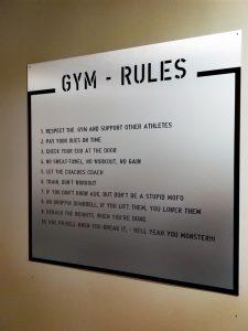 Gym Regeln in der Schmiede